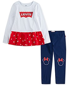 x Disney Little Girls 2-Pc. Minnie Mouse Peplum Top & Leggings Set