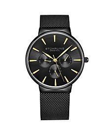 Men's Black Mesh Stainless Steel Bracelet Watch 39mm