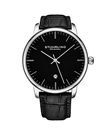 Men's Black Leather Strap Watch 43mm