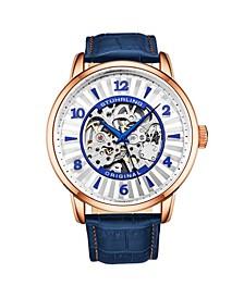 Men's Blue Leather Strap Watch 48mm