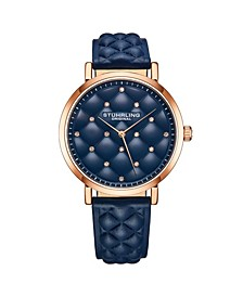 Women's Blue Leather Strap Watch 38mm