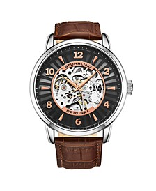 Men's Brown Leather Strap Watch 48mm