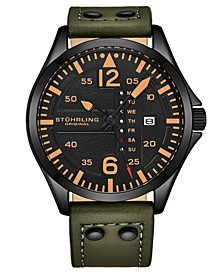 Men's Green Leather Strap Watch 51mm