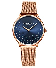 Women's Rose Gold Mesh Stainless Steel Bracelet Watch 38mm