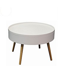 Zoe Mid-Century Round Coffee Table with Storage