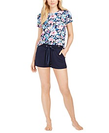 Floral-Print Sleep T-Shirt & Floral-Striped Sleep Shorts