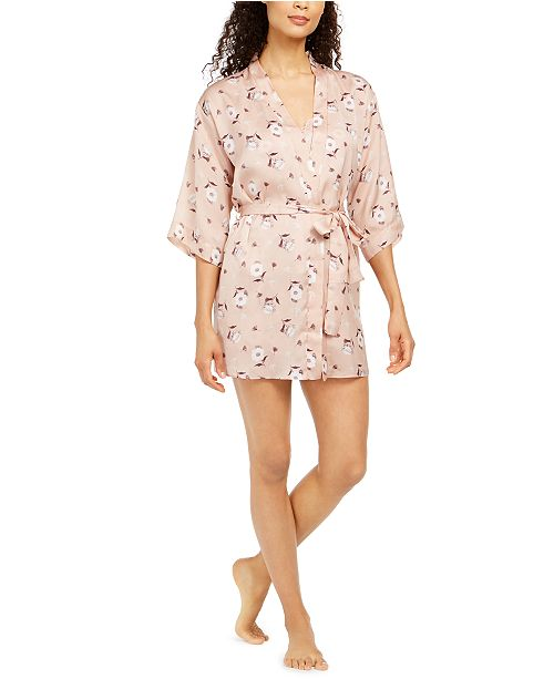 Flora by Flora Nikrooz Diedre Floral-Print Charmeuse Wrap Robe