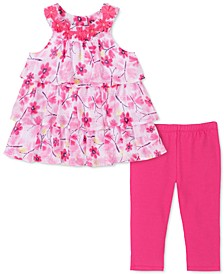 Little Girls 2-Pc. Floral-Print Tiered Ruffle Tun & Leggings Set