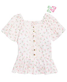 Big Girls Flutter-Sleeve Floral-Print Top & Barrettes