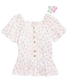 Belle du Jour Big Girls Flutter-Sleeve Floral-Print Top & Barrettes