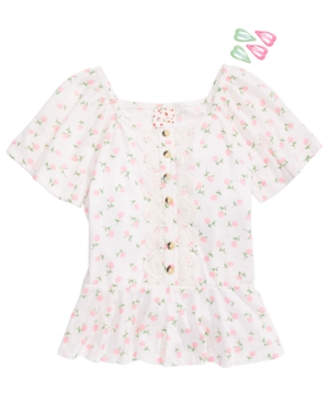 Belle du Jour Big Girls Flutter-Sleeve Floral-Print Top & Barrettes
