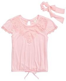 Big Girls Crochet Trim Top & Scrunchie Set