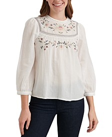 Cotton Embroidered Ladder-Trim Top