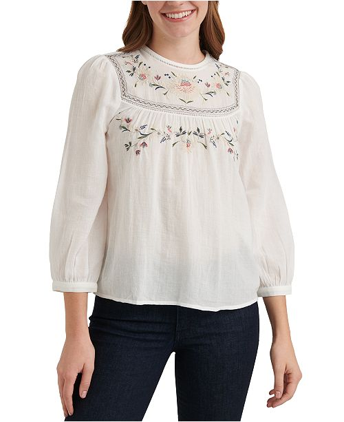 Lucky Brand Cotton Embroidered Ladder-Trim Top
