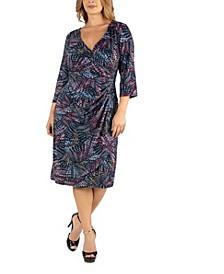 Knee Length Plus Size Faux Wrap Dress