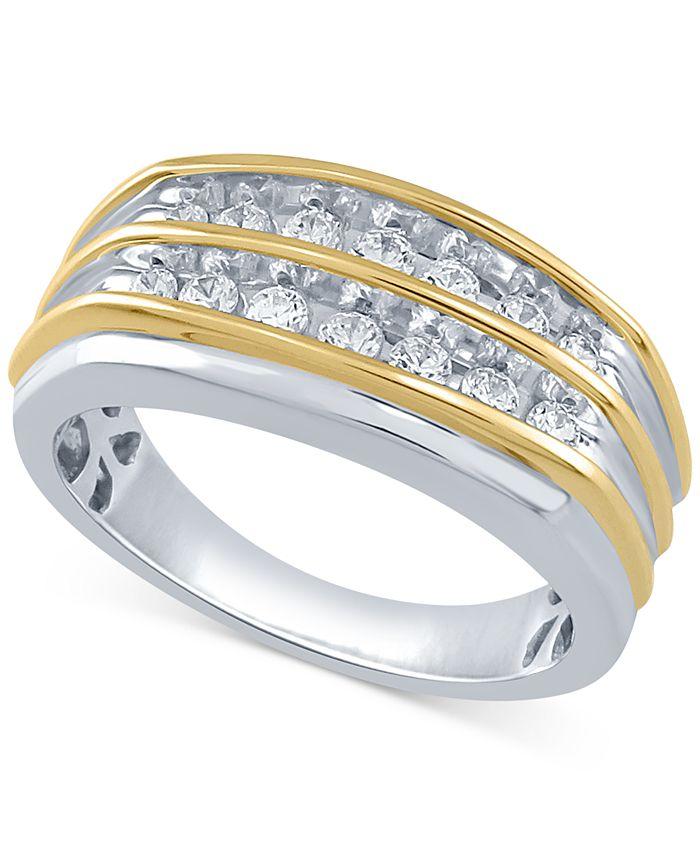 Macy's - Men's Diamond Double Row Ring (1/2 ct. t.w.) in 10K Gold & White Gold