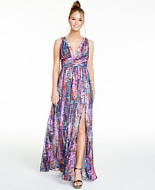 Printed Ruched-Waist Gown