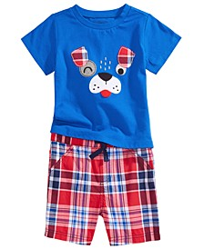 Baby Boys Appliqué T-Shirt & Plaid Shorts, Created for Macy's