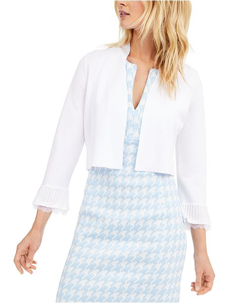 Calvin Klein Lace-Trim Shrug Sweater