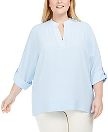 Plus Size Split-Neck Tunic
