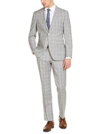 Men's Modern-Fit Light Gray Plaid Wool Suit Separates, Created for Macy's