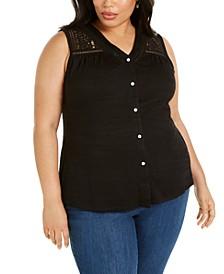 Plus Size Button-Up Lace V-Neck Top