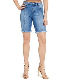 Relaxed Denim Biker Shorts