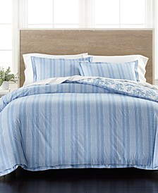 Percale Stripe Reversible Full/Queen 3-Pc. Comforter Set, Created for Macy's