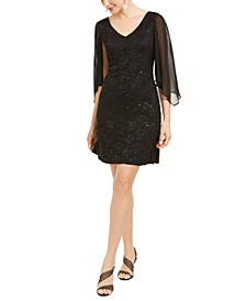 Lace Chiffon-Sleeve Sheath Dress