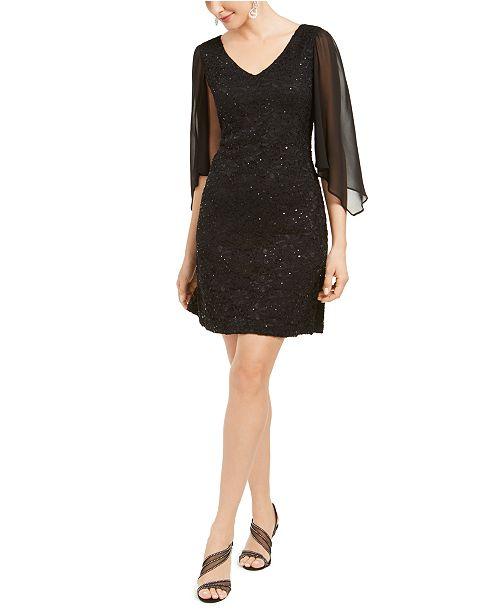 Connected Lace Chiffon-Sleeve Sheath Dress