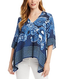 Printed Handkerchief-Hem Top