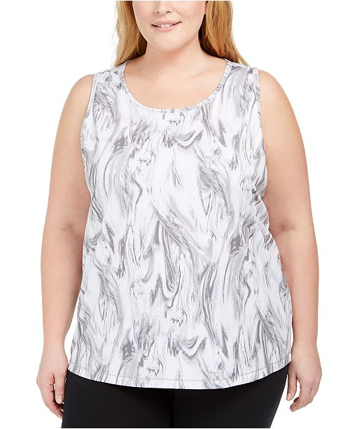 Ideology Plus Size Mesh-Back Tank Top, Created for Macy's