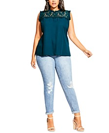 Trendy Plus Size Lace Angel Top