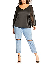 Trendy Plus Size Sheer Zen Top