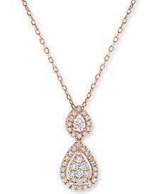 "Diamond Double Teardrop Pendant Necklace (1/3 ct. t.w.) in 14k Rose Gold, 16"" + 2"" Extender"
