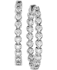 Diamond (1-1/2 ct. t.w.) Inside-Out Oval Medium Hoop Earrings in 14k White or Yellow Gold, 1.25""