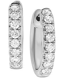 "Diamond (1/2 ct. t.w.) Small Hoop Earrings in 14k White Gold or 14k Gold, 1/2"""