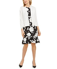 Floral-Print Dress & Open-Front Blazer