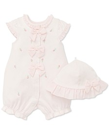 Baby Girls 2-Pc. Cotton Hat & Rosebud Romper Set