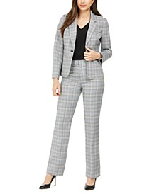 Plaid Notch-Collar Pantsuit