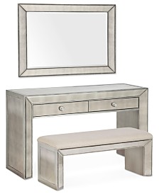 Sophia Mirrored Collection, 3 Piece Vanity Set