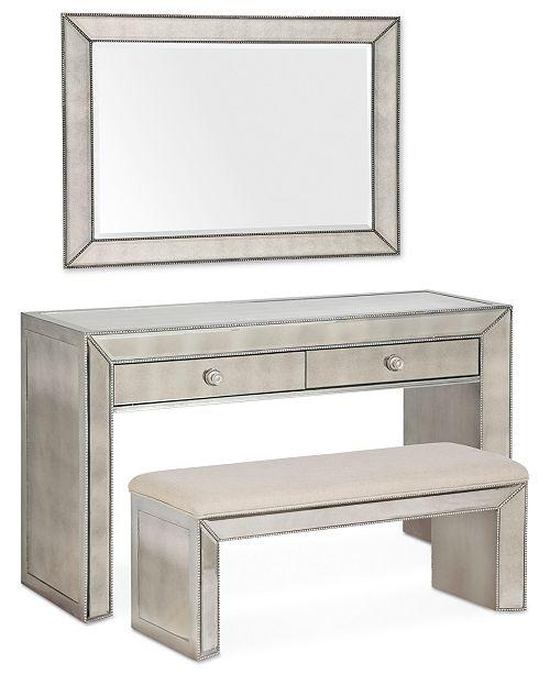 Furniture Sophia Mirrored Collection, 3 Piece Vanity Set