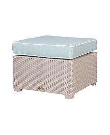 Magnolia Rattan Ottoman, White with a Blue Cushion