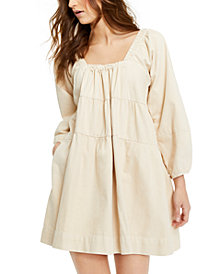 Free People Blue Jean Babydoll Mini Dress