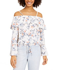 Juniors' Off-The-Shoulder Bell-Sleeve Top