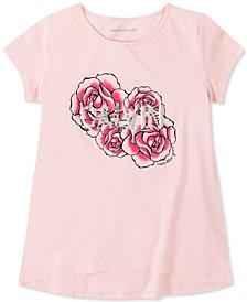 Big Girls Cotton Flip-Sequin Rose T-Shirt