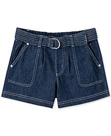 Big Girls Cotton Belted Denim Shorts