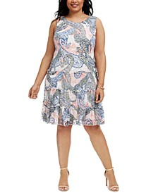 Plus Size Printed Lace Tiered Dress