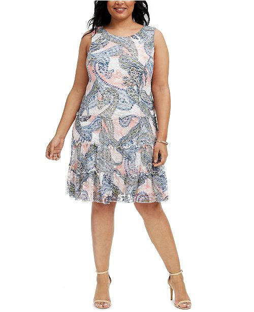 Connected Plus Size Printed Lace Tiered Dress