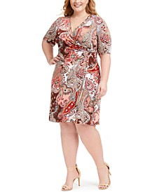 Plus Size Paisley O-Ring Side-Ruched Dress